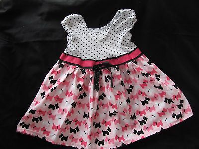 White Black Pink Polka Dot Dog Dress Size 5 /6 Handmade