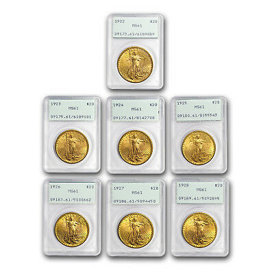 7-Coin $20 Saint Double Eagle Date Set MS-61 PCGS (Rattlers) - SKU#159918