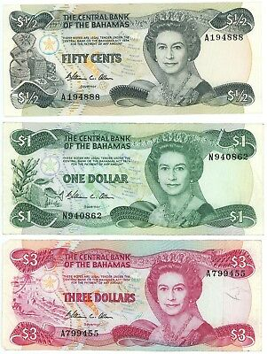 Lot of 3 Bahamas Banknotes 1974 Pick P-4, P-43 P-44 $3-$1 Dollar 50 Fifty Cents
