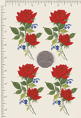 """4 x Waterslide ceramic decals Red roses spray Approx. 4"""" x 2 1/2"""" PD11"""