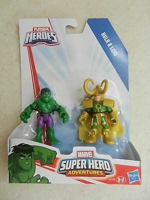 BNIP Playskool Marvel Super Heroes Adventure Small Figures Hulk & Loki Imaginext