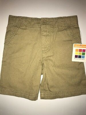 NWT ✿ Healthtex Boy's 3T Sand Khaki Flat Front Shorts 4 Pockets Adjustable Waist