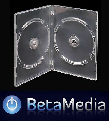 50 x Double Clear 14mm Quality CD / DVD Cover Cases - Standard Size DVD case