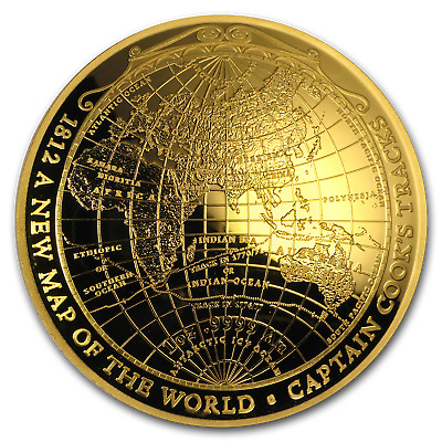 2018 Australia 1 oz Gold $100 Map of the World Domed Proof Coin - SKU#161392