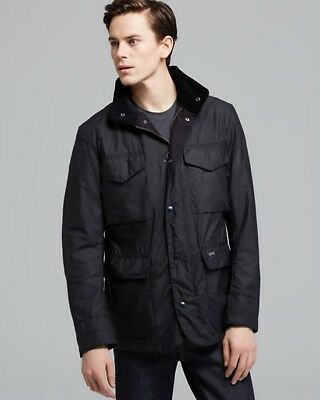 Barbour Sapper Wax Men's Black Jacket Coat Military Style Quilted Lining Size XL