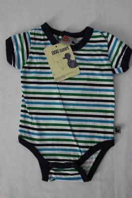 NEW Baby Boys Bodysuit Size 0 - 3 Months Blue Green Striped Creeper Outfit