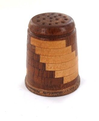.Vintage / Superbly Crafted Mahogany & Sycamore Thimble With Note.