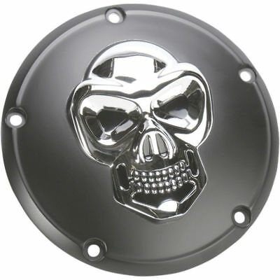 Drag Specialties Black/Chrome 3-D Skull Derby Cover Harley Big Twin 1999-2017