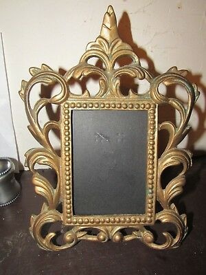 Vintage Victorian Brass Ornate Picture Frame Rococco Metal Floral 10.75 INCH