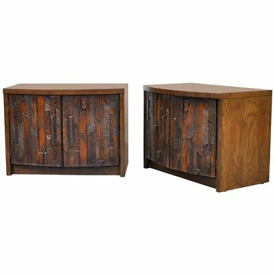 Mid-Century Brutalist Cabinet Pair Nightstands End Tables Lane Danish Modern 60s