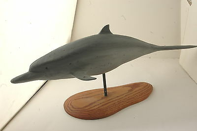 """Bottle Nose Dolphin Wood Carving on a Stand 1998, Carved Name on it """"WHITE"""""""