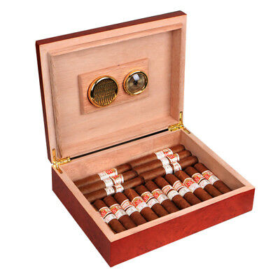Cohiba Cedar Lined Cigar Humidor Humidifier With Hygrometer Case For Cigar Brown