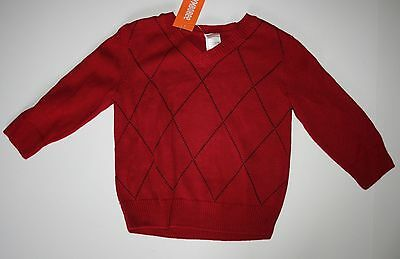 New Gymboree Boys Party Plaid Line Holiday Red Windowpane Sweater 18-24 M NWT