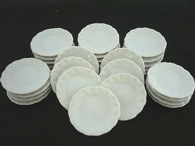 30 x 2.50 cm. White Scalloped Plates Dollhouse Miniatures Ceramic Kitchenware