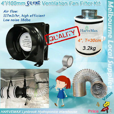 "Hydroponics Silent 4"" Exhaust Fan Harvemax Filter Kit Ventilation Ducting Combo"