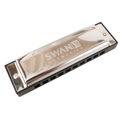 Swan Blues Harmonica 10 Hole Key C Mouth Organ for Beginners & Harmonica Case