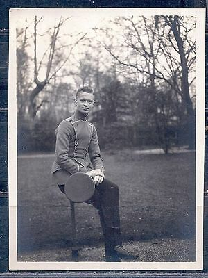 RPPC Real Photo Military German Military Soldier Uniform Boots WW1 or WW2