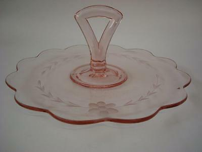 Vintage Pink Pressed Glass  Round Handled Cake Plate