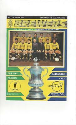 Burton Albion v Leicester City FA Cup 1984/85 Programme + Team Sheet for 16/1/85