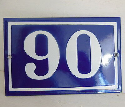 OLD FRENCH HOUSE NUMBER SIGN door gate PLATE PLAQUE Enamel steel metal 90 Blue