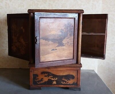 JAPANESE SMOKING CABINET CIGAR PIPE CIGARETTE CASE ANTIQUE WOODENWARE c1900 box