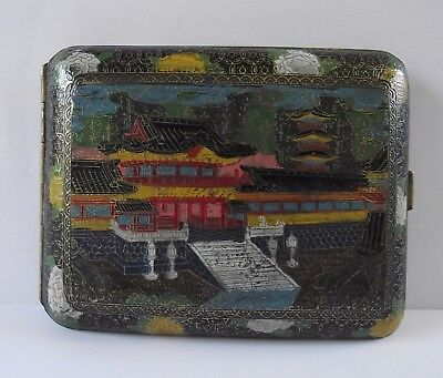 Japanese Cloisonne Enamel Dragon Cigarette Case Antique Tobacciana Oriental