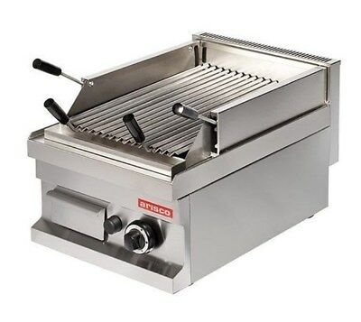 Arisco Gas Lava Rock Chargrill 1 Burner. 400mm Wide. Heavy Duty. Nat Gas or LPG.