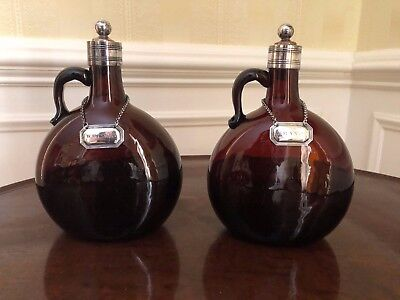 Antique Pair Amber Spirits Decanters Flagons With Silverplate Mounts and Labels