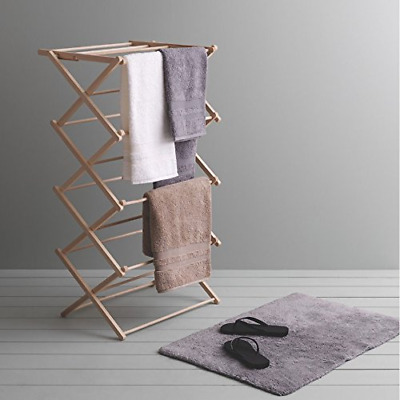 JVL Traditional Wooden Folding Clothes Airer Dryer Vintage Clothes Horse