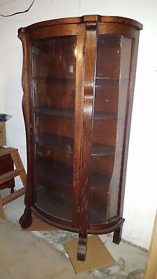 Antique Oak Floor Standing China / Curio Cabinet-Curved Glass N.J.PICK UP ONLY