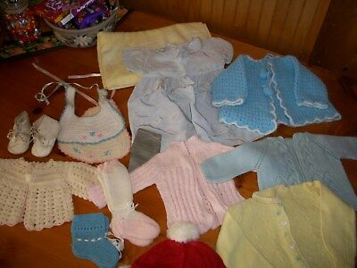Vintage lot of 1940-1950's baby clothes, shoes, hat, sweaters, dress, blanket