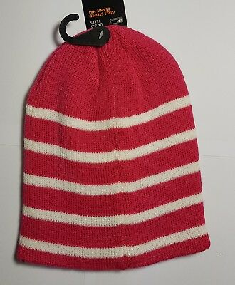 Girls HOT PINK/WHITE Striped Knitted Winter Beanie Hat( GL071) UK Size 6-9 Years