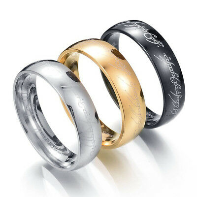 Lord Of The Rings Titanium Stainless Steel Ring Size Z Gold