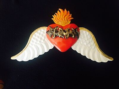 Flying Sacred Heart /Tin Heart With Wings - Mexican Folk Art- Milagros