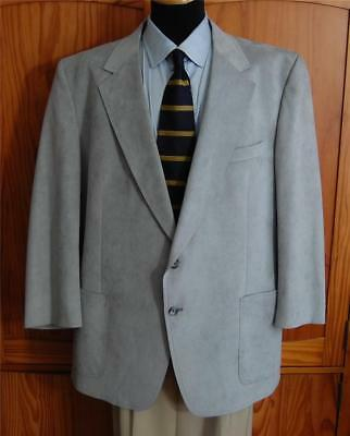 Halston Sharp Gray Two Button Suede Blazer Sport Coat Suit Jacket 44R* Altered
