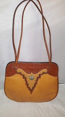 Vintage Hand Made All Leather w/Ostrich Skin Western Look Medium Tote Bag Unique