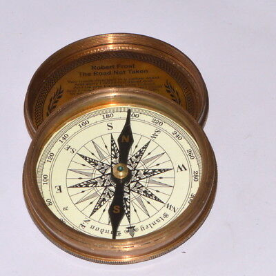 Nautical Robert Frost Poem Engraved London Compass Old Marine Antique gift item