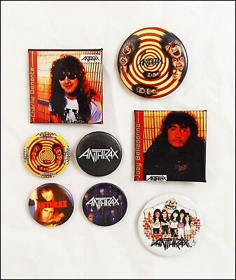 Anthrax 80's Lot Of 8 80's Buttons Pins Badges State Of Euphoria