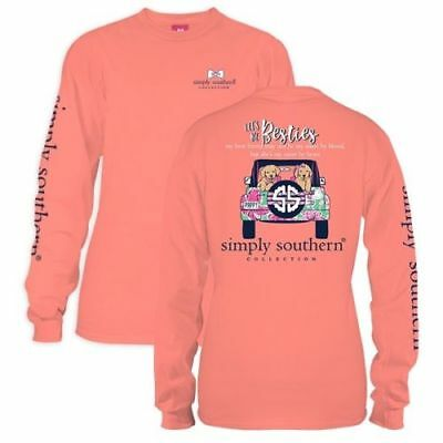 Simply Southern Preppy Collection Besties Long Sleeve TShirt for Women - Sunglow