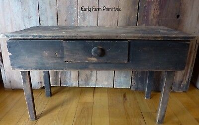 Wonderful Early Antique Primitive Table All Orig Dark Brown Paint & Scrub Top