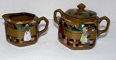 Buffalo Pottery Deldare Sugar And Creamer