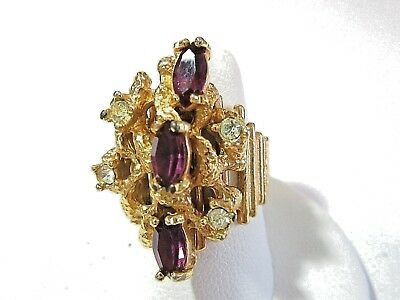 Large Bark Textured 1980's Fancy Purple And Rhinestone Ring Size 7 Vintage