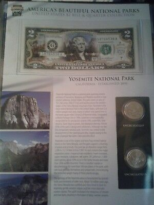US National Parks $2 Bill and Quarter cCollection