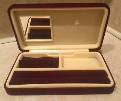 Red Jewellery Box For Rings Watches Brooches Hinged Lid