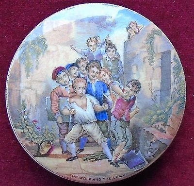 OLD PRATTWARE POT LID No. 361 ''THE WOLF AND THE LAMB'' c.1860