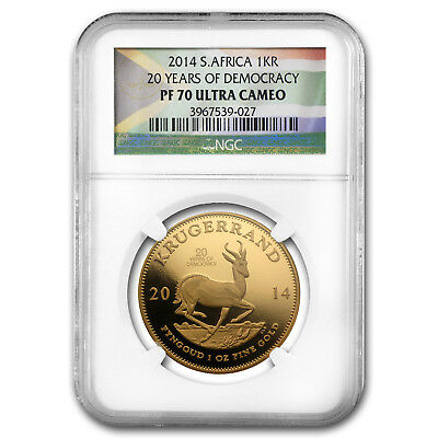 2014 South Africa 1 oz Gold Krugerrand PF-70 NGC (Democracy) - SKU#86900