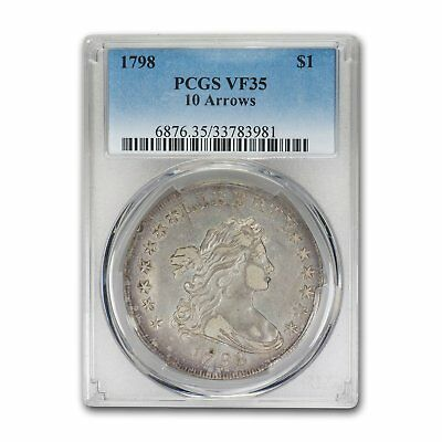 1798 Draped Bust Dollar Heraldic Eagle VF-35 PCGS (10 Arrows) - SKU#155301