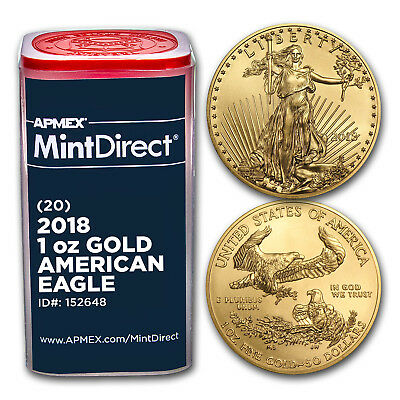 2018 1 oz Gold American Eagle (20-Coin MintDirect® Tube) - SKU#152648