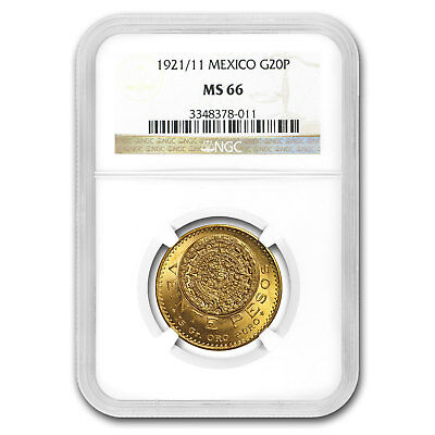 1921/11 Mexico Gold 20 Pesos MS-66 NGC (Finest Known) - SKU#158648