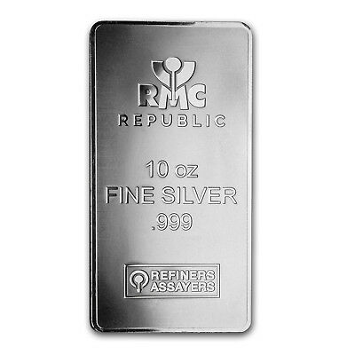 10 oz Silver Bar - Republic Metals Corp. New Style (RMC) - SKU#157509